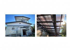 秋田市横森S様邸 外壁塗装・テラスポリカ屋根交換 完工しました